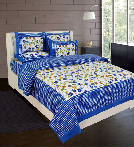 Custom Blue Cotton Abstract Double Bedsheet with 2 Pillow Covers