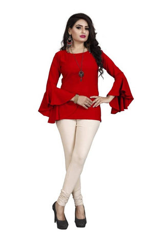 Red Bell Sleeve Blouse Top