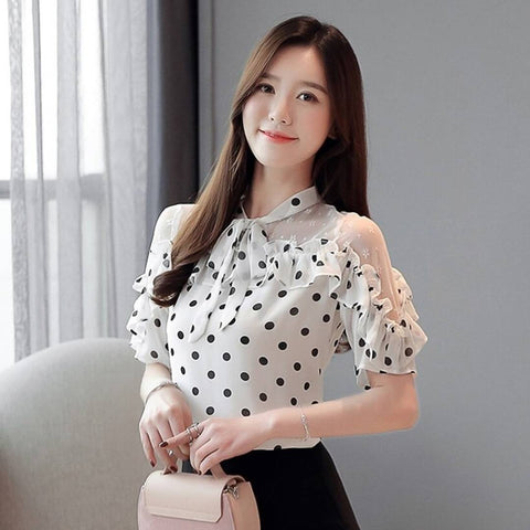 Stunning White Polka Dot Printed Blouse Top