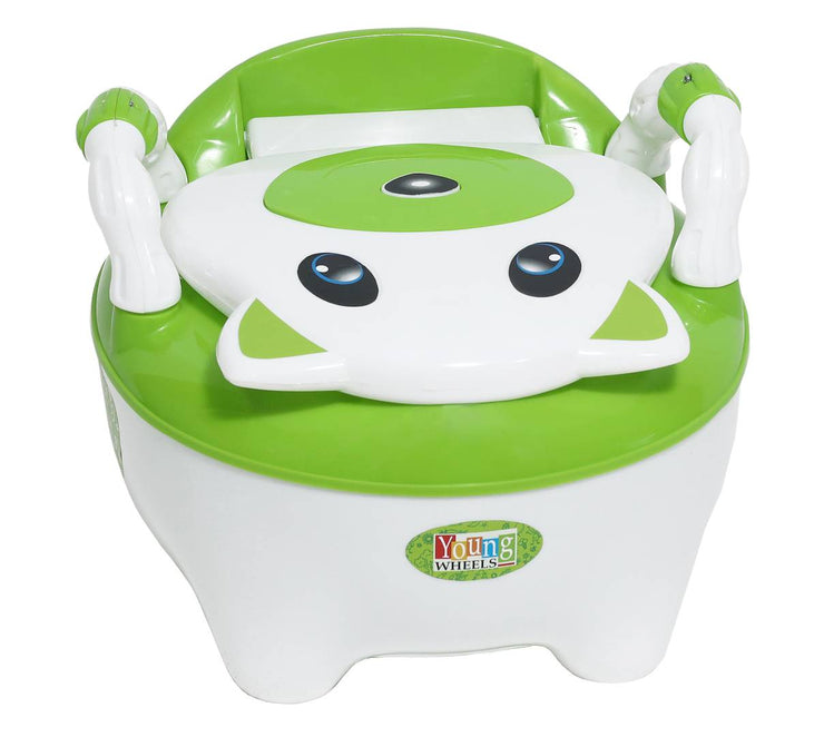 Trendy Green Plastic Baby Toilet Training Potty Seat With Upper Closing Lid And Removable Bowl