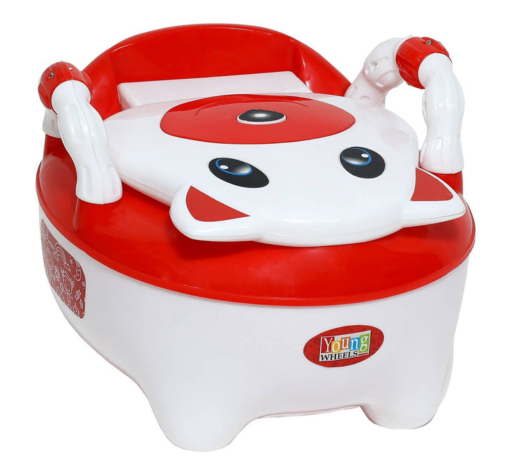 Trendy Red Plastic Baby Toilet Training Potty Seat With Upper Closing Lid And Removable Bowl