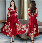 Maroon Flower Print Dress With Full Sleeve 0101