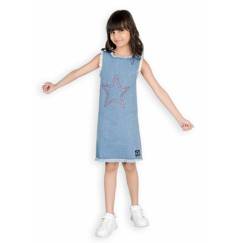 Girls Denim Star Studs Dress