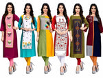 Women's Printed Crepe Straight Kurta (Pack Of 6)