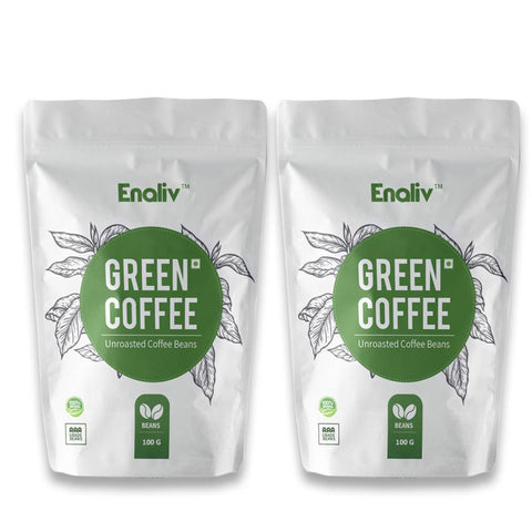 Enaliv Organic Premium AAA Grade Arabica Green Coffee Beans for strengthening Immunity,Detoxification and Weight Loss 100 G x 2(Pack of 2) - Price Incl.Shipping