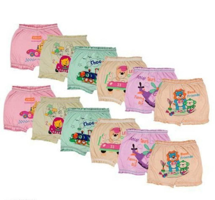 Cotton Multicoloured Bloomer - Pack Of 12