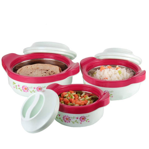 Marvel Inner Steel Casserole 800Ml, 1500ML, 2500ML Set of 3, Pink