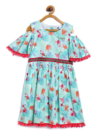 Girl's Printed Green Cotton Blend A-Line Dress Dresses
