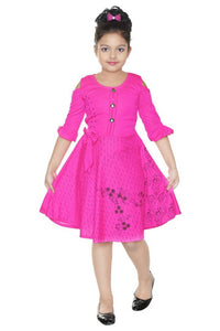 Stylish Pink Printed A-Line Flare Dress For Girls