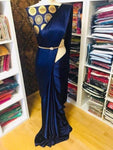Stylish Blue Satin Solid Saree With Jacquard Blouse Piece