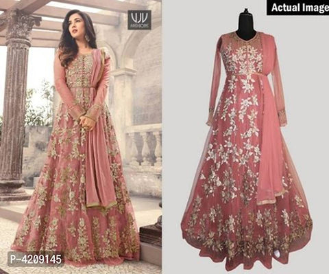 chudidhar Designer Net Embroidered, Embellished Gown (Semi Stitched)