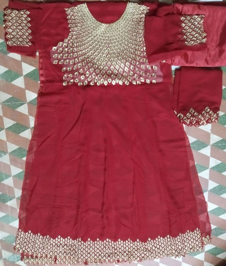 chudidhar girls gown semi-stitched