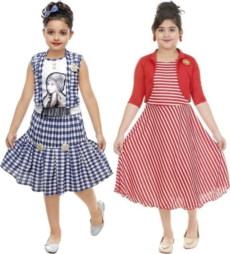 Frocks Blue & Red Cotton  - Pack Of 2