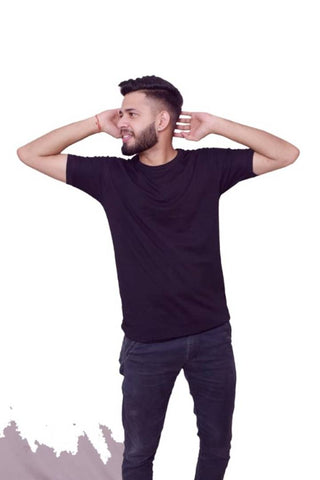 Elegant Black Solid Cotton Spandex Round Neck Tees For Men