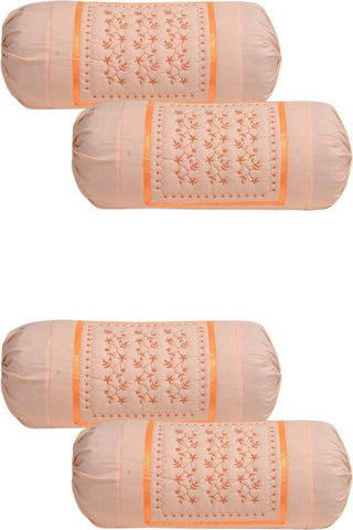 Bolster Cover Embroidered Modern Multicoloured Cotton  (Piece Of 4)