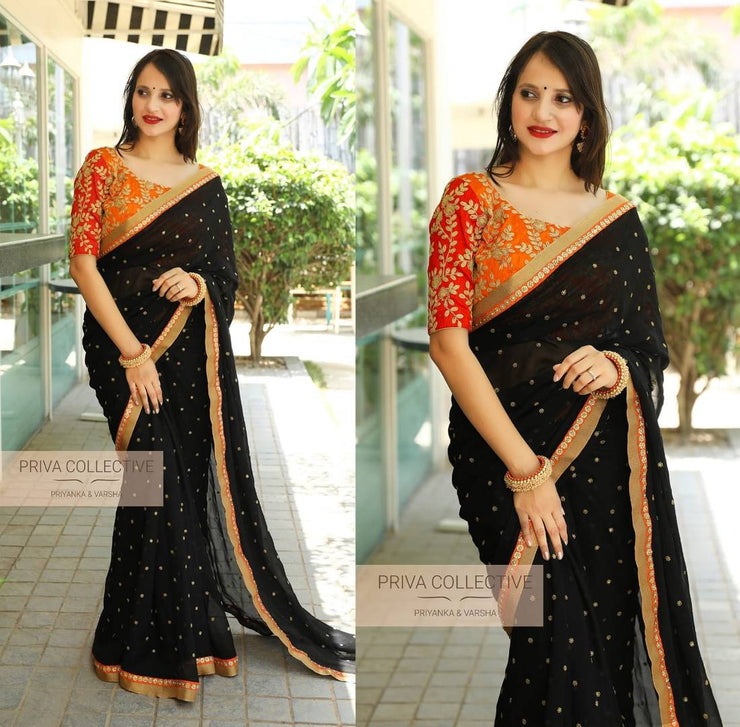 Georgette Fancy Print Black Color Party Wear Saree
