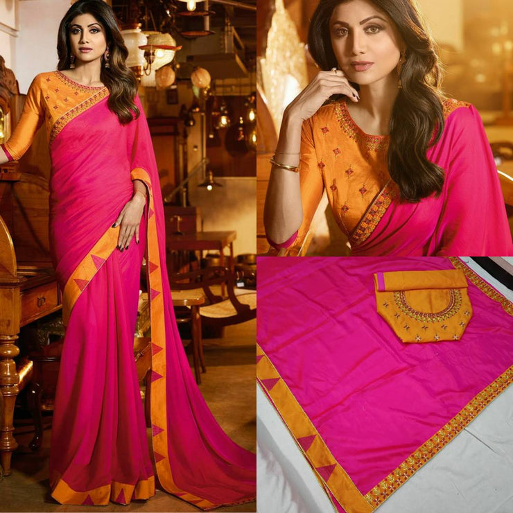 Saree  Party Wear Silk Embroidered & Lace Work