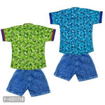 Boys Casual Cotton Shirts & Jeans Short Combo Set (Set of 4)