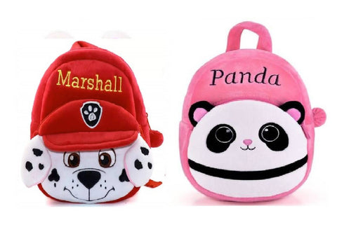 Marshall-Panda Soft Velvet Kids School/Nursery/Picnic/Carry/Travelling Bag - 2 to 5 Age Waterproof Backpack (Red, Pink, 14 L) Pack Of 2