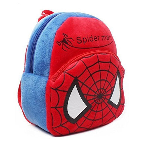 Spiderman-Panda Soft Velvet Kids School/Nursery/Picnic/Carry/Travelling Bag - 2 to 5 Age Waterproof Backpack (Red, Pink, 14 L) Pack Of 2