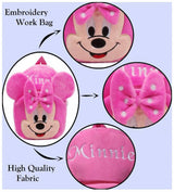Minnie Velvet School Bag Casual Bags for Nursery Kids, Age 2 to 5 Waterproof Plush Bag Backpack Durable and Sturdy (Pink, 14 inch) Pack Of 1