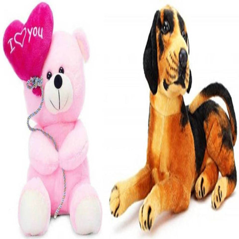 Gift Basket Stuffed Soft Toy Combo Of Balloon Teddy With Black Dog