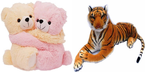 Gift Basket Stuffed Soft Toy Combo Of Huggable Couple With Tiger