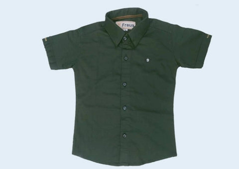 Kids Boy Cotton Solid Casual Shirt