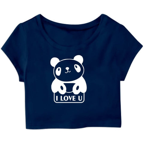 Love You Panda Printed Casual Half Sleeve Women's Crop Top
