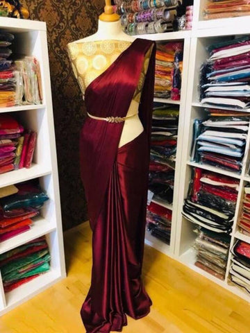 Stylish Maroon Satin Solid Saree With Jacquard Blouse Piece