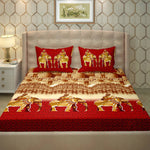 Modern Red Printed 250 Thread Count Bedsheet With 2 Pillow Cover
