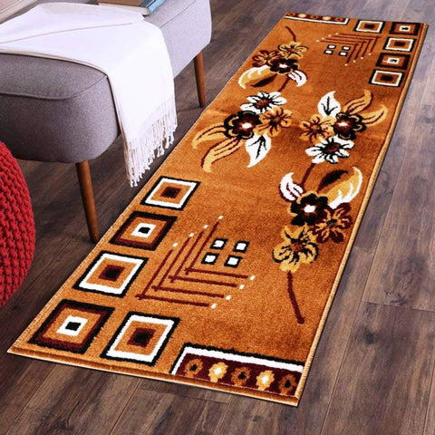 Modern Orange Polyester Blend Printed Rug