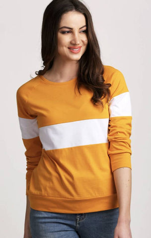 Stylish Yellow Solid Cotton Blend Tops For Women