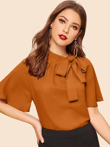 Camel Coloured Knot Top