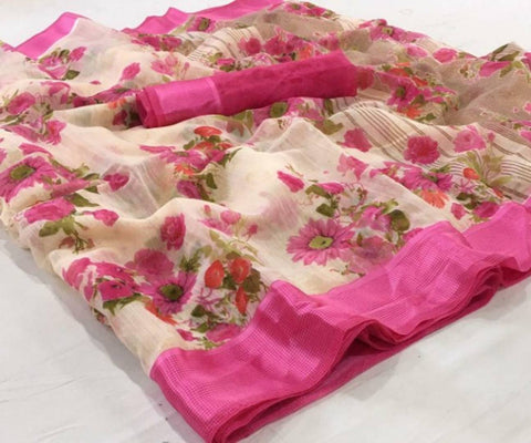 New Trendy Linen Printed Satin Border Saree with Blouse piece