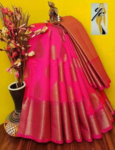 Attractive Cotton Blend Jacquard Saree with Blouse piece