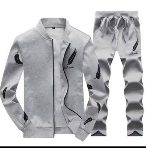 EXCLUSIVE MEN GRAY WOOLEN FLEECE IMPORTED PRINTED HEAVY QUALITY TRACKSUITS.