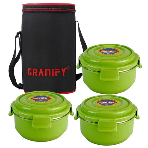 Designer Useful Lunch Box With 3 Steel Containers And Bag
