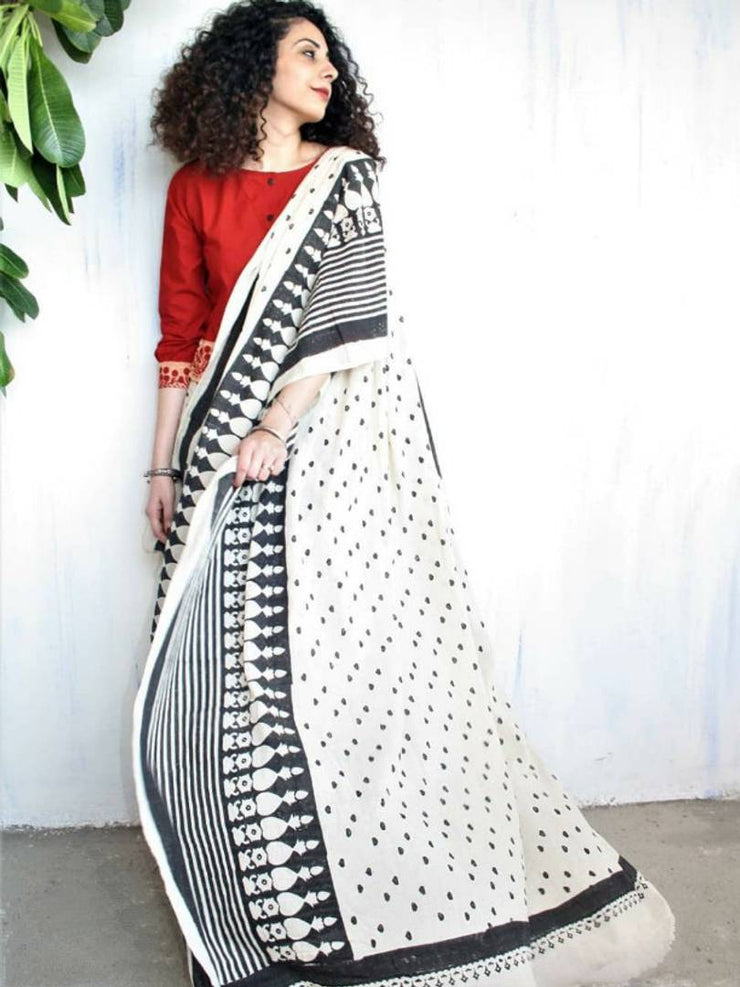 New Trendy Linen Printed Saree with Blouse piece