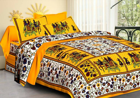 Jaipur Printed Cotton Double Bed Sheet With 2 Pillow Cover