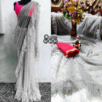 Latest Attractive Net Ruffle Saree with Blouse piece