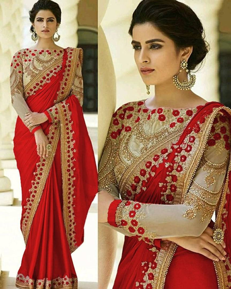 Beautiful Crepe Embroidered Saree with Blouse piece