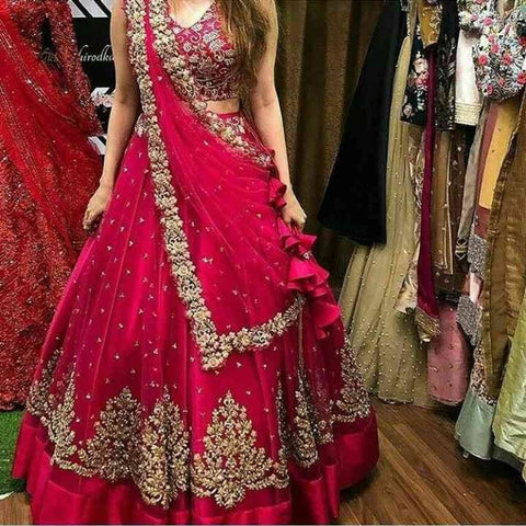 PINK COLORED PARTYWEAR DESIGNER EMBROIDERED NET WITH SILK MATERIAL LEHENGA CHOLI-LC249