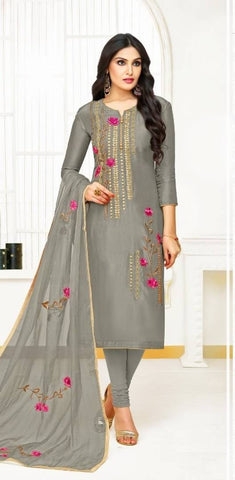 Stylish Silk Semi-Stitched Suit