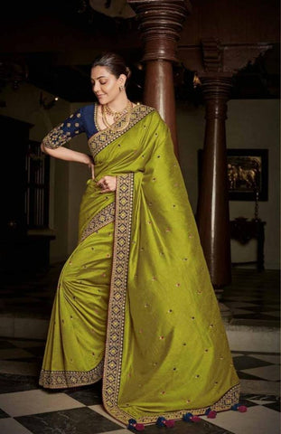 Beautiful Silk Cotton Embroidered Saree with Blouse piece