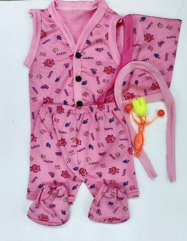 Elite Magenta Cotton Hosiery Printed Clothing Set For Infants
