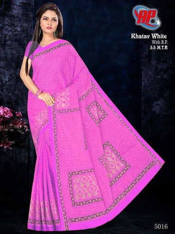 Stylish Cotton Pink Printed Saree With Blouse Piece