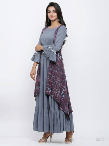 Alluring Grey Rayon Printed Anarkali Kurta For Women