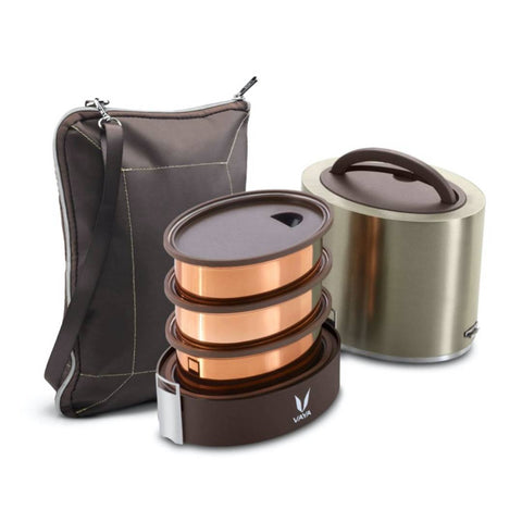 Finished Stainless Steel Lunch Box with Bagmat, 1000 ml, 3 Containers, Brown