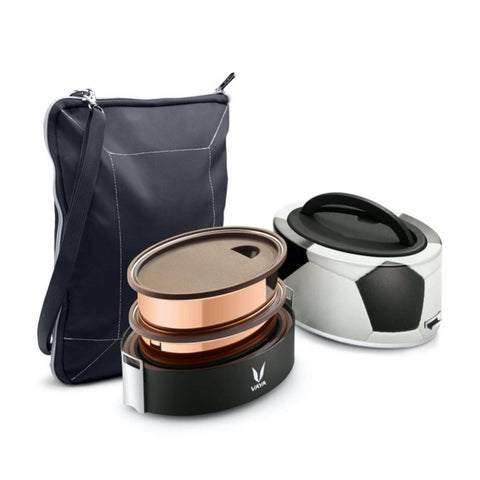 Finished Stainless Steel Lunch Box with Bagmat, 600 ml, 2 Containers, Black